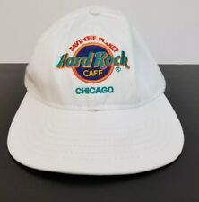 Vintage 1990s Hard Rock Cafe Save the Planet Chicago White Adjustable Hat Cap