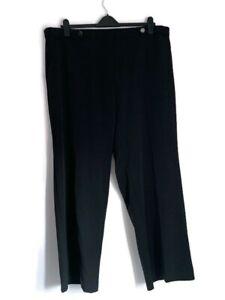 Evans Women's Trousers Black Straight Leg Soft-Feel Elasticated Waist UK Size 24