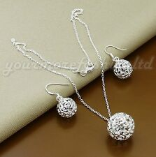 Ball Jewelry sets 925 Sterling silver Necklace & Drop Earring set  (P34)