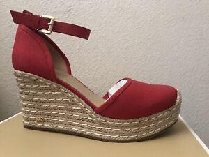 MICHAEL Michael Kors Women's Kendrick Espadrille Wedge Sandals, Bright Red 7.5M