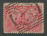 "CANADA #53 USED JUBILEE SQUARED CIRCLE CANCEL ""OTTAWA"" DATED SUNDAY JUMBO"