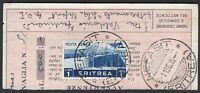 #868 - Colonie, Eritrea - Annullo Nefasit su ricevuta vaglia, 1936