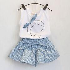 2PCS Toddler Kids Baby Girl Outfits T-shirt Tops + Pants Shorts Clothes Set