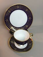 3 Piece Set LICHTE FINE CHINA Echt Kobalt Pattern- (22 K) Gold Trim - Germany