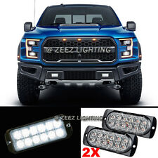 2X 12 LED White Emergency Hazard Warning Flash Strobe Beacon Caution Light Bar95