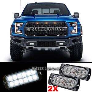 2X 12 LED White Emergency Hazard Warning Flash Strobe Beacon Caution Light Bar94