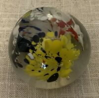 VINTAGE PAPERWEIGHT Art Glass Small Multi Color