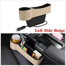 Brecha de asiento de coche Universal Lado Izquierdo Caja de almacenamiento USB con sostenedor de taza Beige Cuero PU
