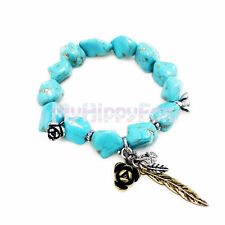 Lucky Brand Antiqued Turquoise Stone Bead Bracelet with Flower Feather Accent