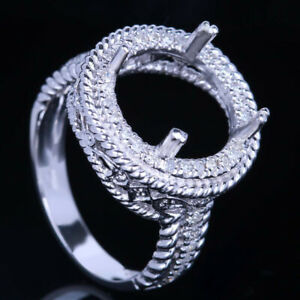 Round 11mm Natural SI/H Diamonds Semi Mount Ring Setting Solid 10k White Gold