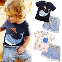 2Pcs Toddler Kids Boy Clothes Tops T-shirt Shorts Pants Summer Outfits Set