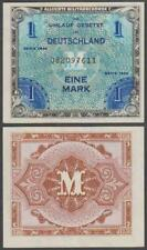 💥1944 WORLD WAR II GERMAN ALLIED MILITARY CURRENCY 1 MARK PAPER NOTE XF+ RARE