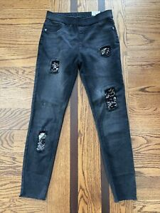 NEW Girls Justice LEGGING MID RISE SOFT & STRETCHY Black Jeans Size 16 Bedazzled