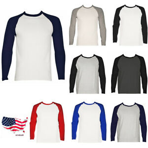 Mens Long Sleeve Raglan Baseball Tee Plain Cotton Crewneck Jersey T-Shirt
