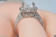 Antique Vintage Engagement Ring Setting Hold 8MM 18K White Gold Ring Size 6.75