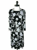 SANDRA DARREN Plus Size 22W A-Line Dress Black White Gold Shimmery 3/4th Sleeve