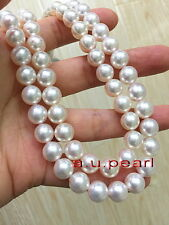 "long AAAAA 36""10-11mm round REAL natural south sea white pearl necklace 14K gold"