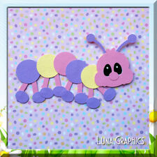 PINK CUTE LIL BUGGERS CATERPILLAR Embellishment card toppers and scrapbooking