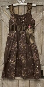 Girls Dress Size 10 Brown With Sequins