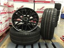 "Mercedes A & C Class AMG 45 style 18"" alloy wheels tyres C63 BLACK POLISHED LIP"