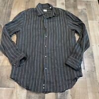 Armani Collezioni Black Striped Button Up Dress Shirt Adult Mens Size Large