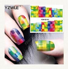 Rainbow Checker Board Nail Art Sticker Decal Decoration Manicure