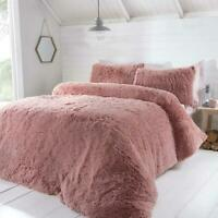 LUXURY FAUX FUR BLUSH PINK KING SIZE DUVET COVER