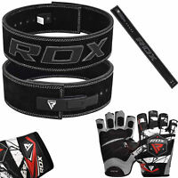 RDX Leather Leaver Weight Lifting Belt Gloves Training Gym Fitness Strap Power B