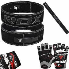 RDX Cuero Guantes de cinturón brazo de levantamiento de pesas Entrenamiento Gimnasio Fitness correa de alimentación B