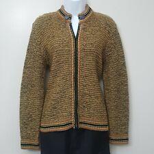 Vintage 60s Zip Front Sweater Cardigan Garland Chain Mustarcd Brown Black S M