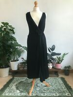 Laura Ashley Vintage 90's Black Evening Floral Wrap Dress Women's UK 10 VTG