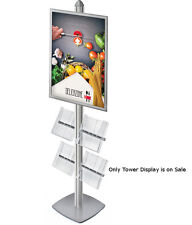 Metal Snap Frame Tower Display in Silver 22W x 28H Inches w/ 4 Brochure Pockets