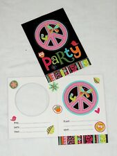 HIPPIE CHICK--- 8-PAPER INVITATIONS, BIRTHDAY- PARTY SUPPLIES