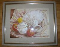 VINTAGE APPLES LEMON STILL LIFE CREAMER BOWL LISTED ARTIST PAUL NOEL WC PAINTING