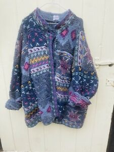Vintage Hand Knitted Wool XL Cardiagn 1980