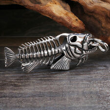 Large Biker Stainless Steel Fish Bone Pendant For Men's Cool XMAS Holiday Gifts