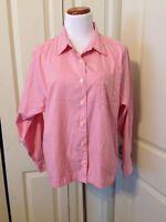 L.L. Bean Pink & White Pin Stripe Button Down Blouse Size L Long Sleeve