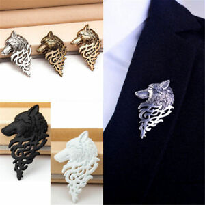 2PCS Wolf Head Tie Pin Brooch with Celtic Design Viking Tribal Badge Breastpin