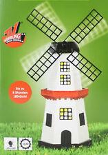 XXL Premium Solar Windmühle 1,3m Holz imprägniert kugelgelagert Garten Deko Neu