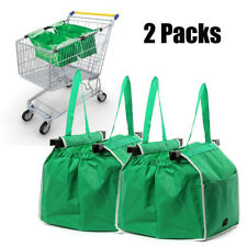 2Pcs Foldable Reusable Shopping Eco Grocery Fabric Tote Bag Clip To Cart Trolley