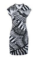 NWT $630 Just Cavalli Women's Dress Pencil Black White Fern Size 38 Aus 8
