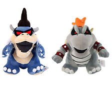 2pcs Super Mario Bros Dry Bowser Bones Koopa & Dark Bowser Plush Doll Figure Toy