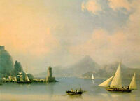 Nice Oil Ivan Constantinovich Aivazovsky - Sea channel with lighthouse canvas