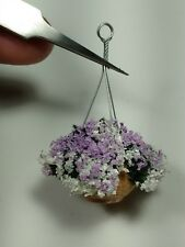 Miniature 1:12 Artisan Mauve and white hanging basket by Kraig Councell