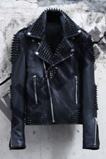 New Mens Full Punk Black  Metal Spiked Studded Cowhide Leather Jacket All Sizes