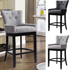 Grey Bar Stools Breakfast Bar Chair Padded Seat Footrest Dining Room Wooden Legs