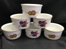 6 Royal Worcester Evesham Vale Custard Cups Ramekins Porcelain Gold Edge 636395