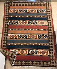 LARGE VINTAGE KILIM Woven TURKISH AREA RUG vegetable dye 20th Century PERSIAN