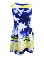Vince Camuto Women's Sleeveless Printed Fit & Flare Dress (16, Blue/Multi)
