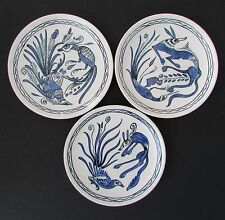 Viejo Taxco Mexico 1950's Modernist Blue & White Plates in Style of Felix Tissot